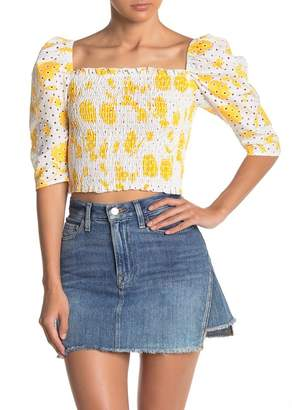 Know One Cares Eyelet Lace 3/4 Sleeve Crop Top