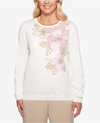 Alfred Dunner Home For The Holidays Floral-Applique Sweater