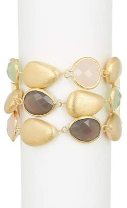Rivka Friedman Rose Quartz, New Jade, & Grey Chalcedony Three Row Toggle Bracelet