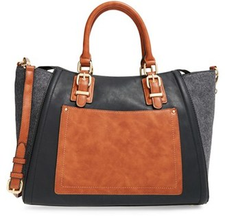 Sole Society 'Jensen' Mixed Media Tote - Grey $69.95 thestylecure.com
