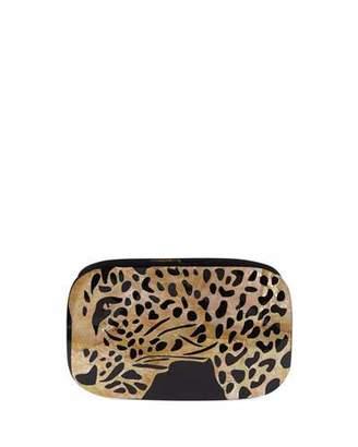Rafe Kiki Leopard Shell Minaudiere Clutch Bag