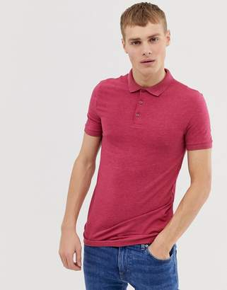 Asos Design DESIGN muscle fit jersey polo in pink