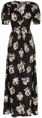 Miu Miu V-neck rose print short sleeve silk dress
