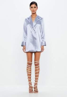 Missguided Blue Metallic Tuxedo Blazer Dress