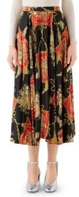 Gucci Women's Printed Silk Twill Plisse Midi Skirt - Red Multi - Size 44 (8)