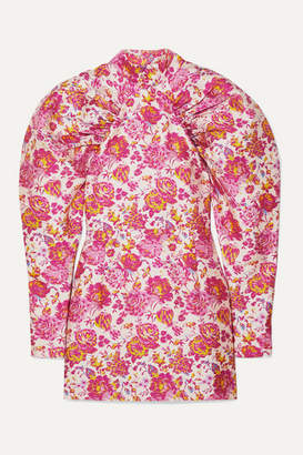 Rotate by Birger Christensen Ruched Floral-jacquard Mini Dress - Pink