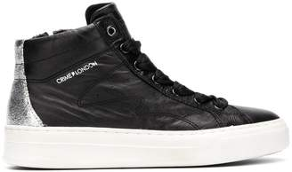 Crime London quilted mid-top sneakers