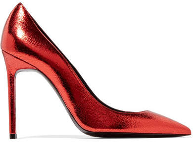 Saint Laurent - Anja Metallic Cracked-leather Pumps - Red