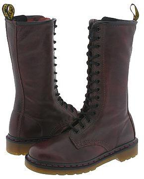 Dr. Martens Original 14 Eye Zip Boot (Deep Red Vacchetta)