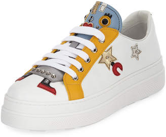 Prada Robot Double-Sole Leather Low-Top Sneakers