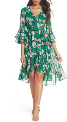 Eliza J Ruffle Sleeve Floral Faux Wrap Dress