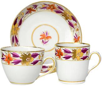 One Kings Lane Vintage 1790s Cups & Saucer Trio - Portfolio No.6