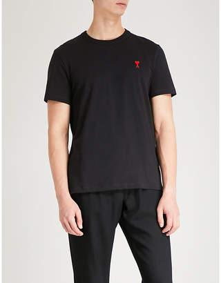 Ami Alexandre Mattiussi Ami de Coeur embroidered cotton-jersey T-shirt