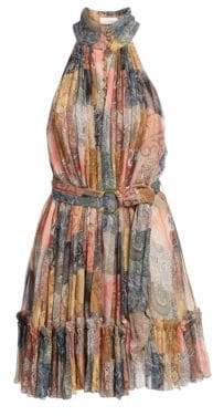 Zimmermann Ninety-Six Patchwork Fit-&-Flare Silk Dress