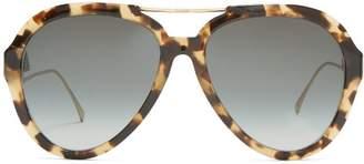 Fendi Oversized Aviator Sunglasses - Womens - Tortoiseshell