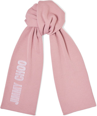 Jimmy Choo FABIA Mauve Blended Wool Knit Scarf