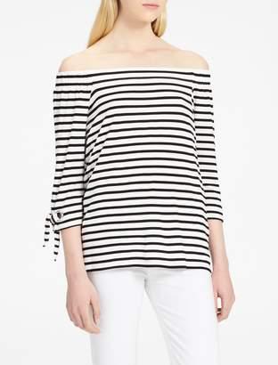 Calvin Klein striped off-shoulder tie sleeve top