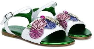 Quis Quis crystal embellished strap sandals