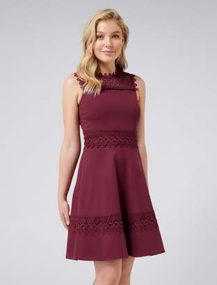 Forever New Coby Lace Trim Ponte Dress - Very Berry - 4