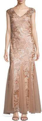 Alex Evenings Cap-Sleeve Lace Sequin Mermaid Gown