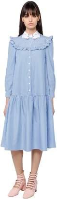 Ruffled Striped Cotton Poplin Dress