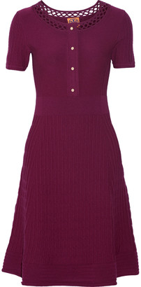 Tory Burch Ashlyn open knit-trimmed stretch-wool dress $395 thestylecure.com