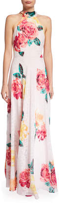 Laundry by Shelli Segal Floral and Animal Print Halter Maxi Dress