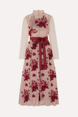RED Valentino Embroidered Point D'esprit Tulle Midi Dress