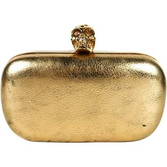 Alexander McQueen Skull Gold Leather Clutch bags
