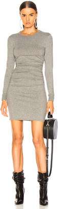 Enza Costa Cashmere Long Sleeve Crew Side Ruched Mini Dress