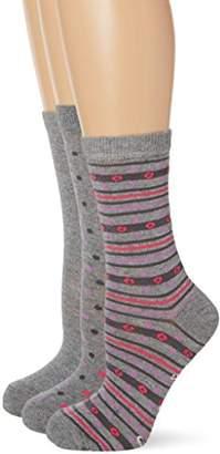 Lovestruck Women's 3Pk Pink Stripe Spot Casual Socks,(Manufacturer Size:4-7)