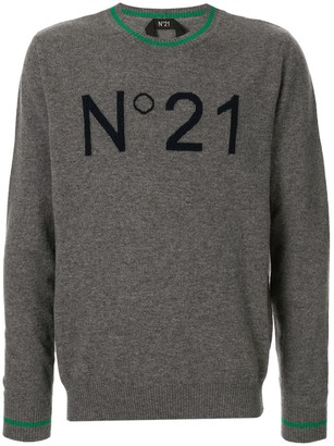No.21 jacquard logo knitted sweater