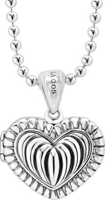Lagos Beloved Fluted Heart Locket Necklace