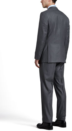 Brioni Pinstripe Suit, Light Gray/Blue