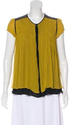 Proenza Schouler Short Sleeve Silk Blouse