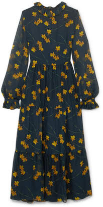 DAY Birger et Mikkelsen Borgo De Nor - Gala Floral-print Silk-chiffon Midi Dress - Petrol