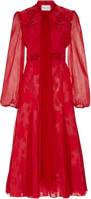Prabal Gurung Tie Neck Fil Coupé Silk Midi Dress