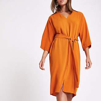 River Island Orange tie waist wrap midi dress
