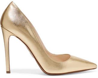 Prada Metallic Textured-leather Pumps - Gold