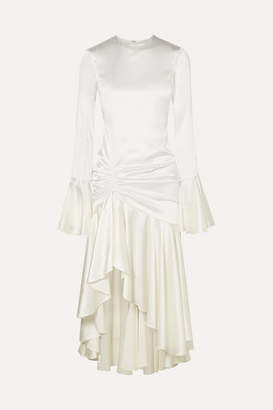 Caroline Constas Monique Ruched Stretch-silk Satin Gown - White