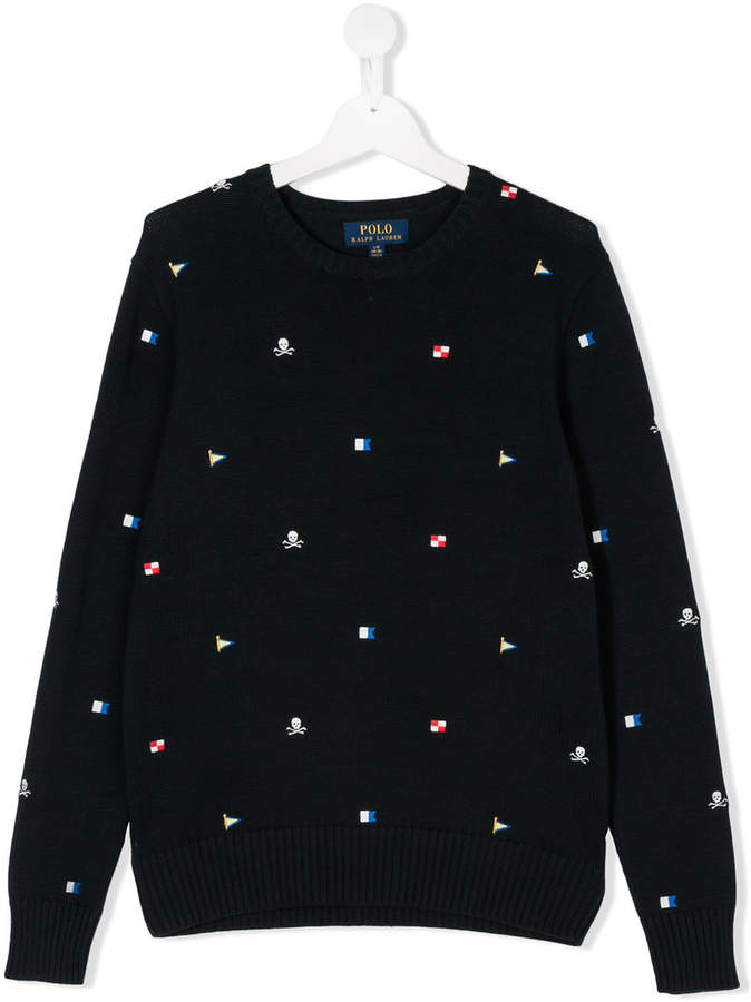 TEEN logo embroidered sweater