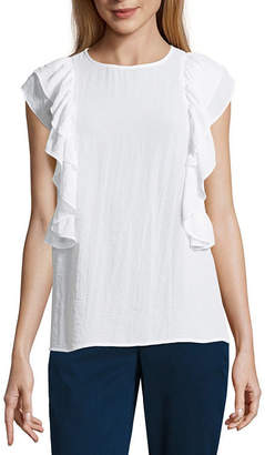 A.N.A Ruffle Shoulder Blouse Short Sleeve Crew Neck Woven Blouse