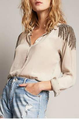 Diane von Furstenberg AS by Beaded Shoulder Blouse