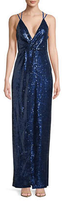 Halston H Sequined Slip Gown