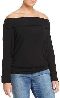Elan International Plus Fold-Over Off-the-Shoulder Top