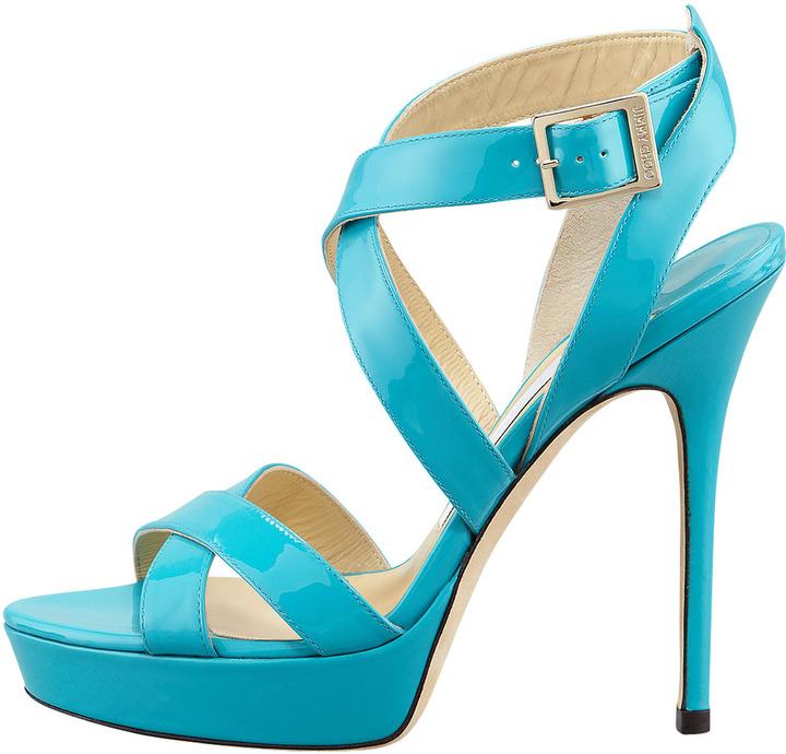 Jimmy Choo Vamp Crisscross Sandal, Turquoise