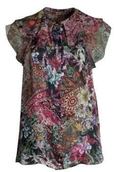 Elie Tahari Mala Tapestry Print Silk Satin Blouse