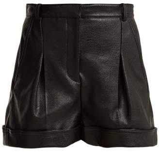 Stella McCartney Pleated Faux Leather Shorts - Womens - Black