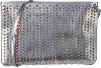 Christian Louboutin Loubi Embellished Metallic Patent Clutch