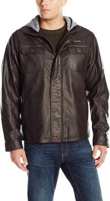 English Laundry Men's Faux Leather Bomber Jacket with Fleece Hood